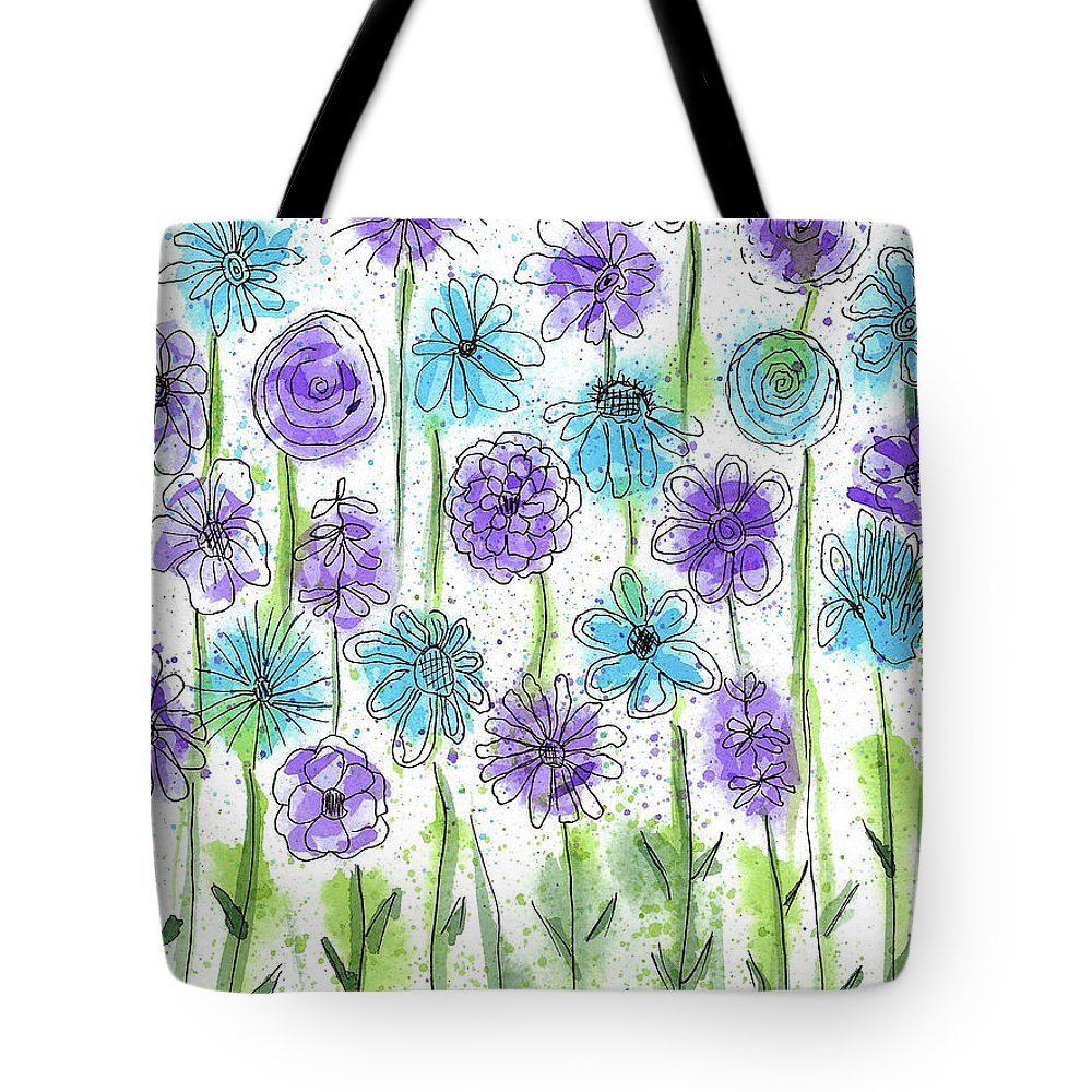 Watercolor And Ink Tote Bag featuring the painting Flower Fantasy by Susan Campbell