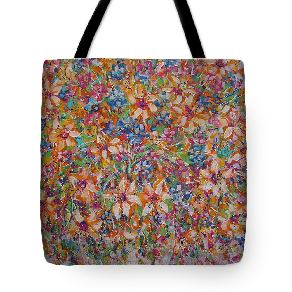 Flowers Tote Bag featuring the painting Flower Galaxy by Natalie Holland