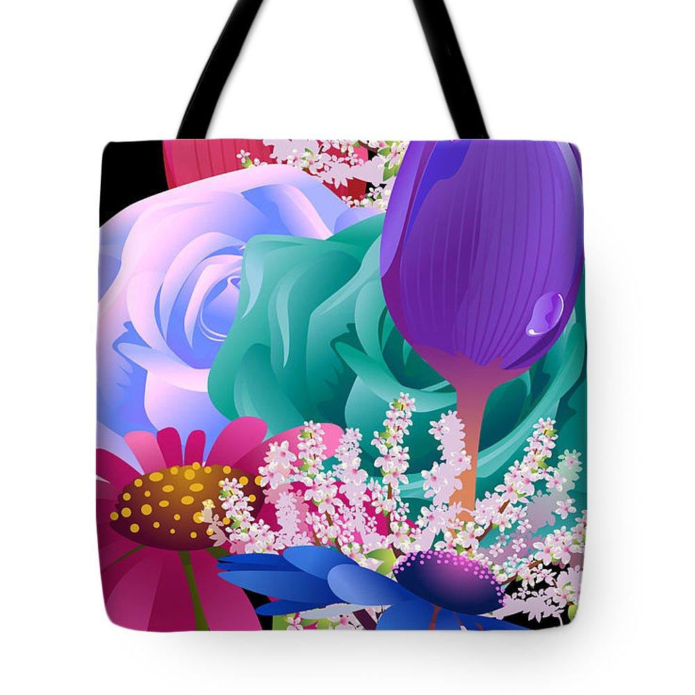 Flowers 6 Tote Bag featuring the digital art Flowers 6 by Tari Valadez