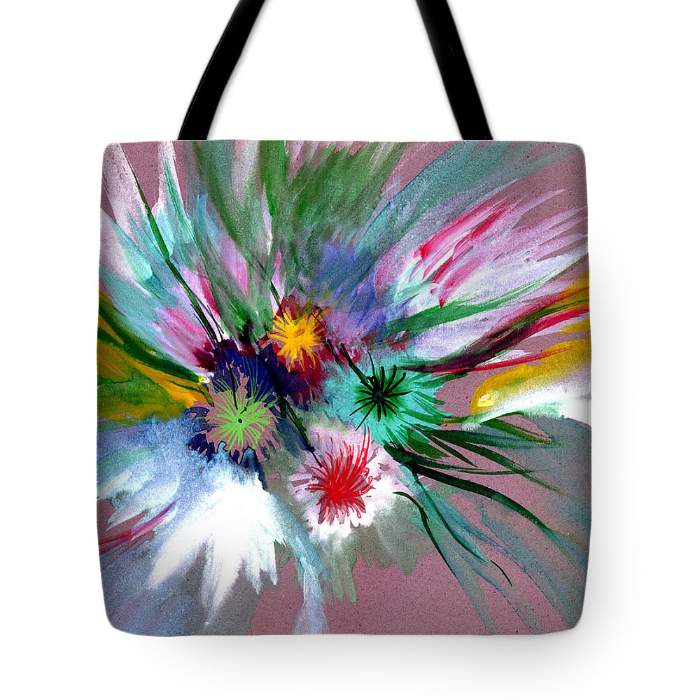Flowers Tote Bag featuring the painting Flowers by Anil Nene