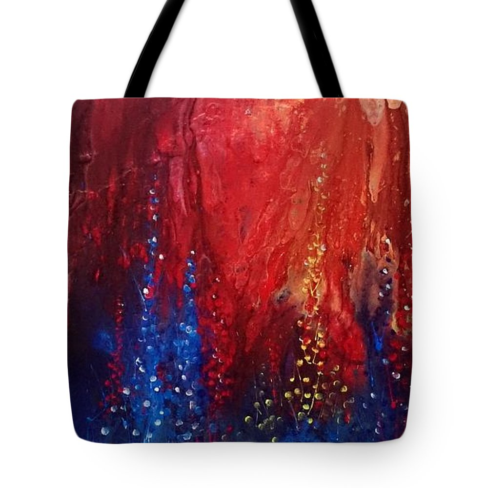 Tote Bag featuring the painting Flowers by Pruthvi Indla