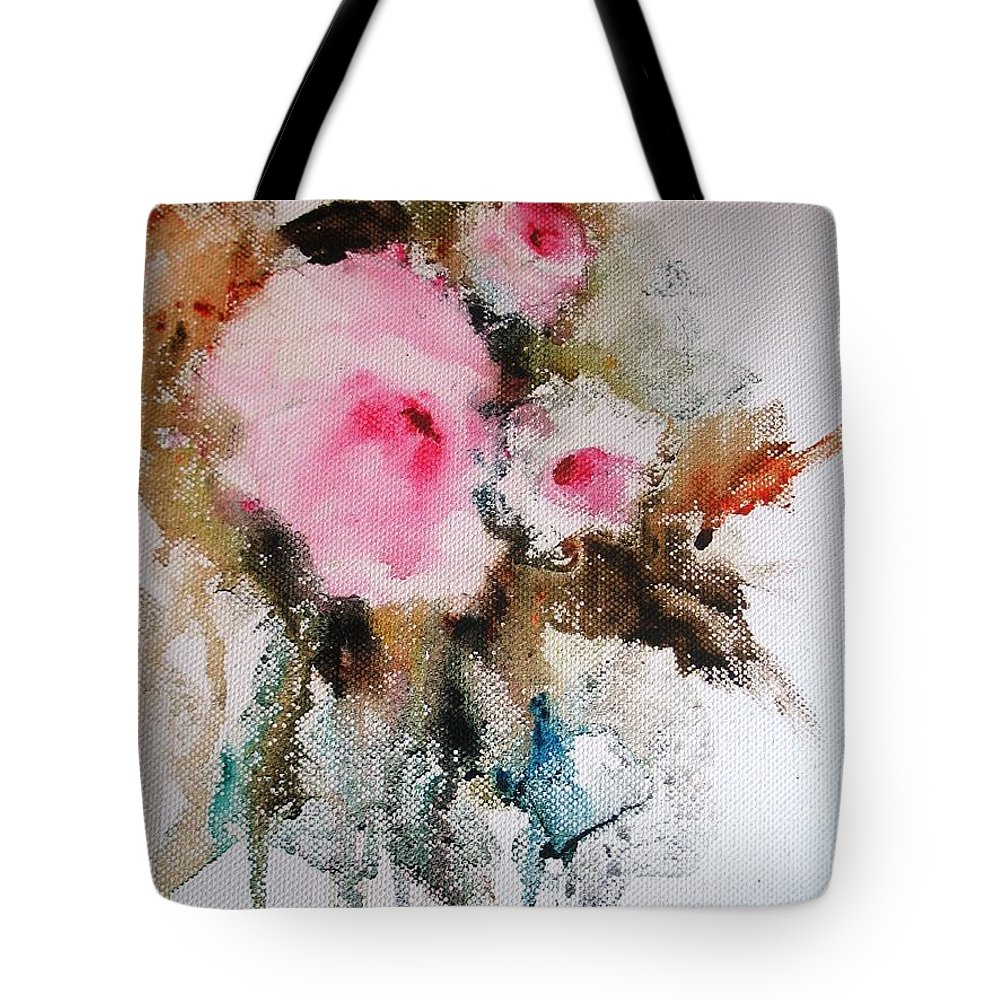 Floral Tote Bag featuring the painting Flowers by Vesna Grundler