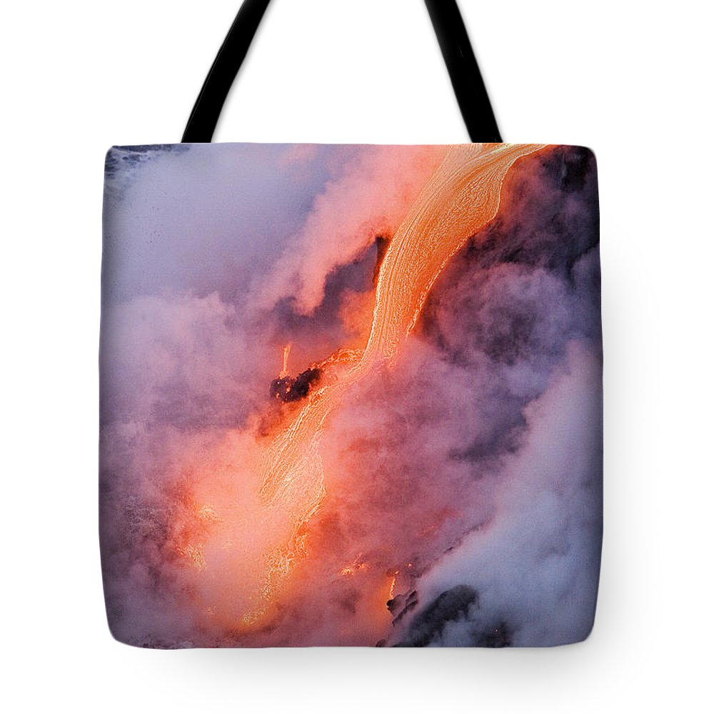 Active Tote Bag featuring the photograph Flowing Pahoehoe Lava by Ron Dahlquist - Printscapes