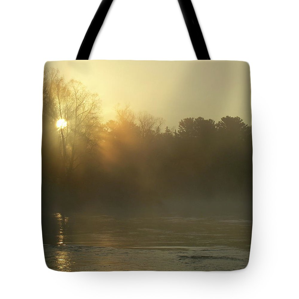 Mississippi River Tote Bag featuring the photograph Foggy Mississippi River Sunrise by Kent Lorentzen