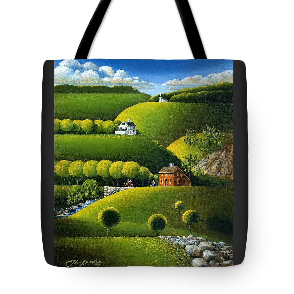 Deecken Tote Bag featuring the painting Foothills Of The Berkshires by John Deecken