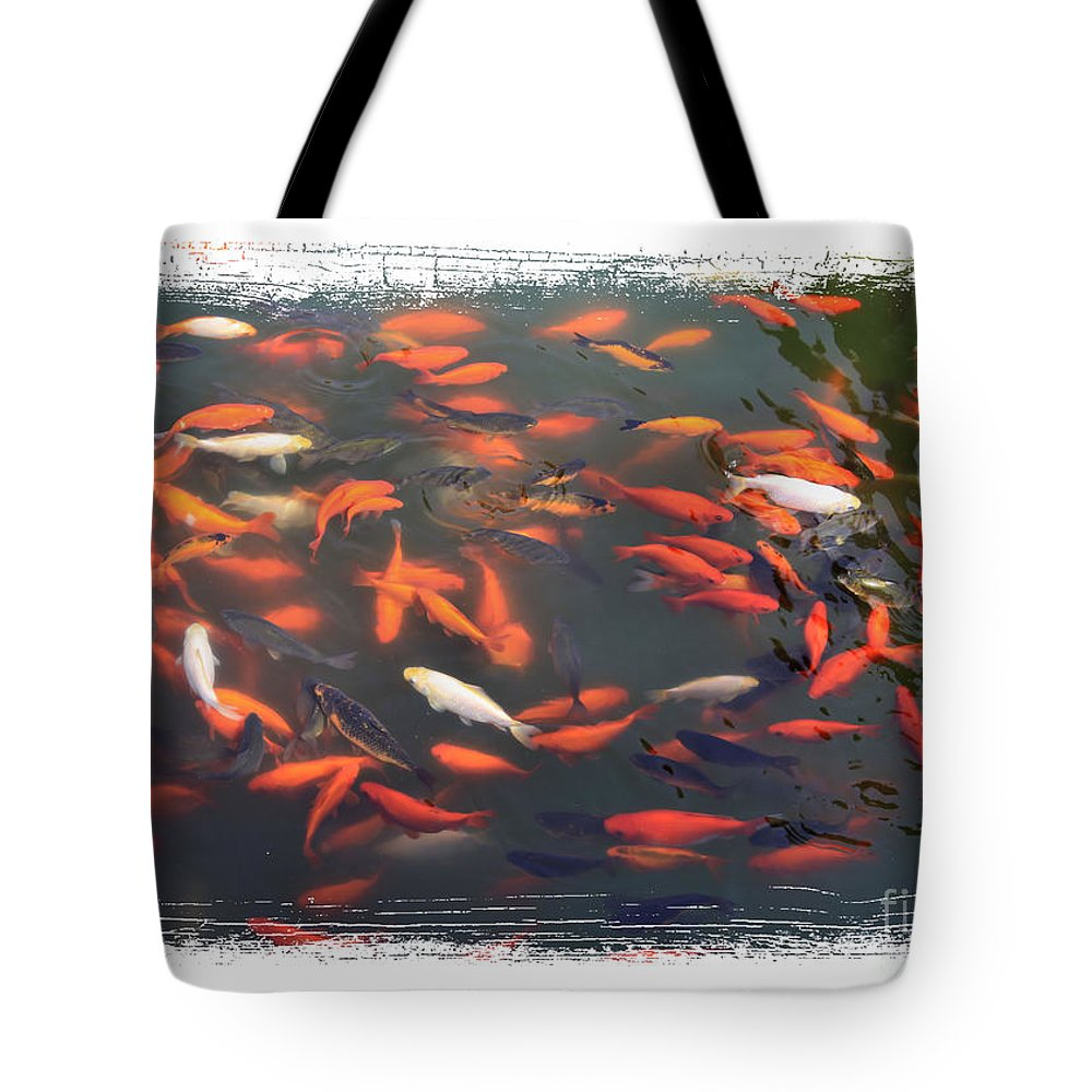 Koi Tote Bag featuring the photograph Koi Pond With Framing by Carol Groenen