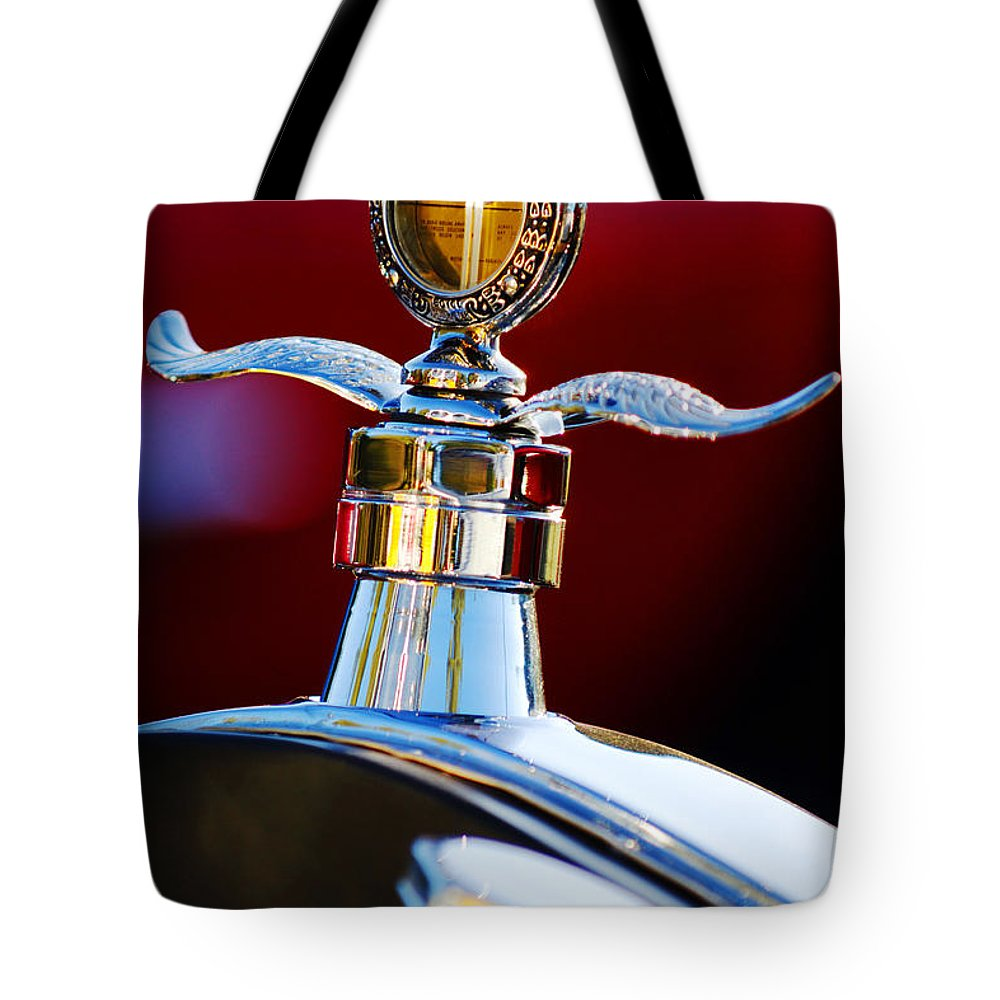 Hood Ornament Tote Bag featuring the photograph Ford Boyce Motometer by Jill Reger