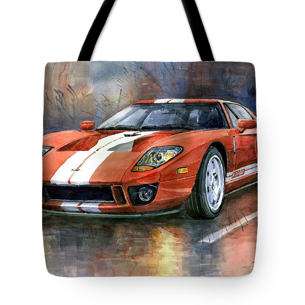 Watercolor Tote Bag featuring the painting Ford Gt 40 2006 1 by Yuriy Shevchuk