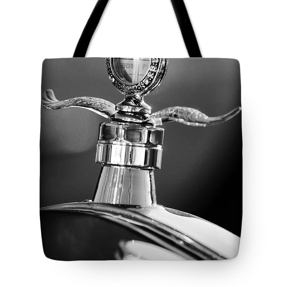 Transportation Tote Bag featuring the photograph Ford Winged Hood Ornament Black And White by Jill Reger