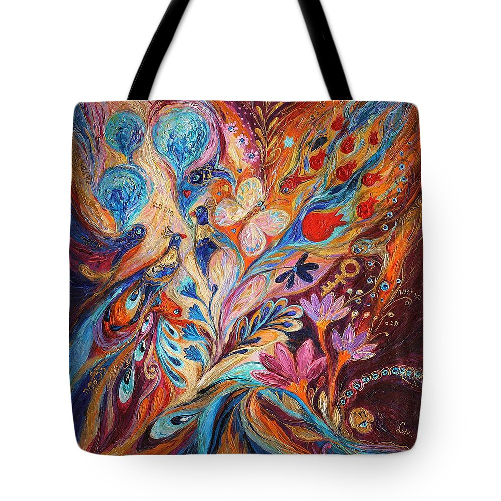 Modern Jewish Art Tote Bag featuring the painting Foreboding Storm by Elena Kotliarker