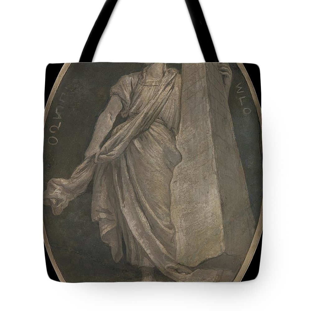Workshop Of Giovanni Battista Tiepolo Fortitude Tote Bag featuring the painting Fortitude by Workshop of Giovanni Battista Tiepolo
