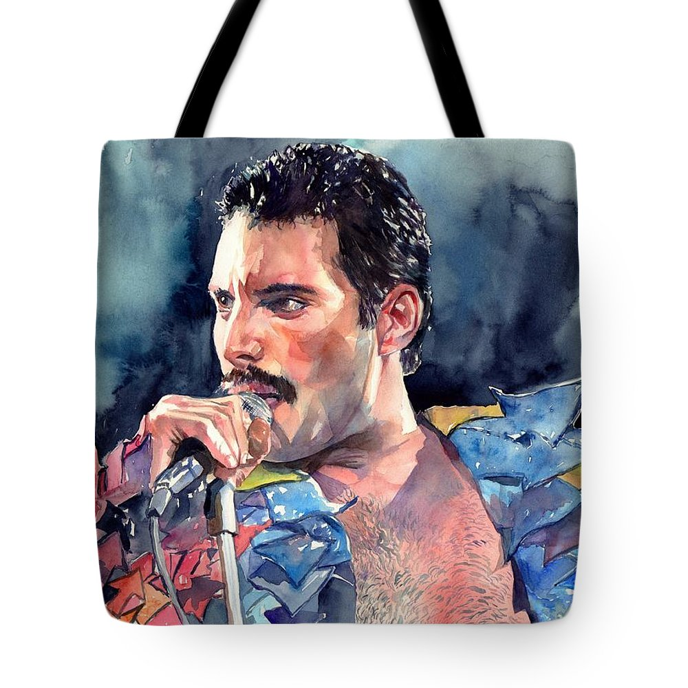 Freddie Tote Bag featuring the painting Freddie Mercury portrait by Suzann Sines