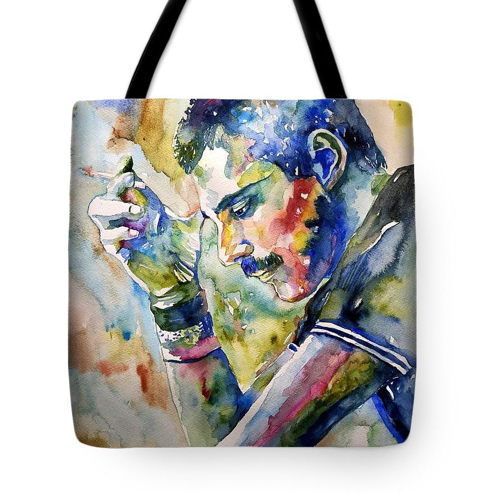 Freddie Tote Bag featuring the painting Freddie Mercury Watercolor by Suzann Sines