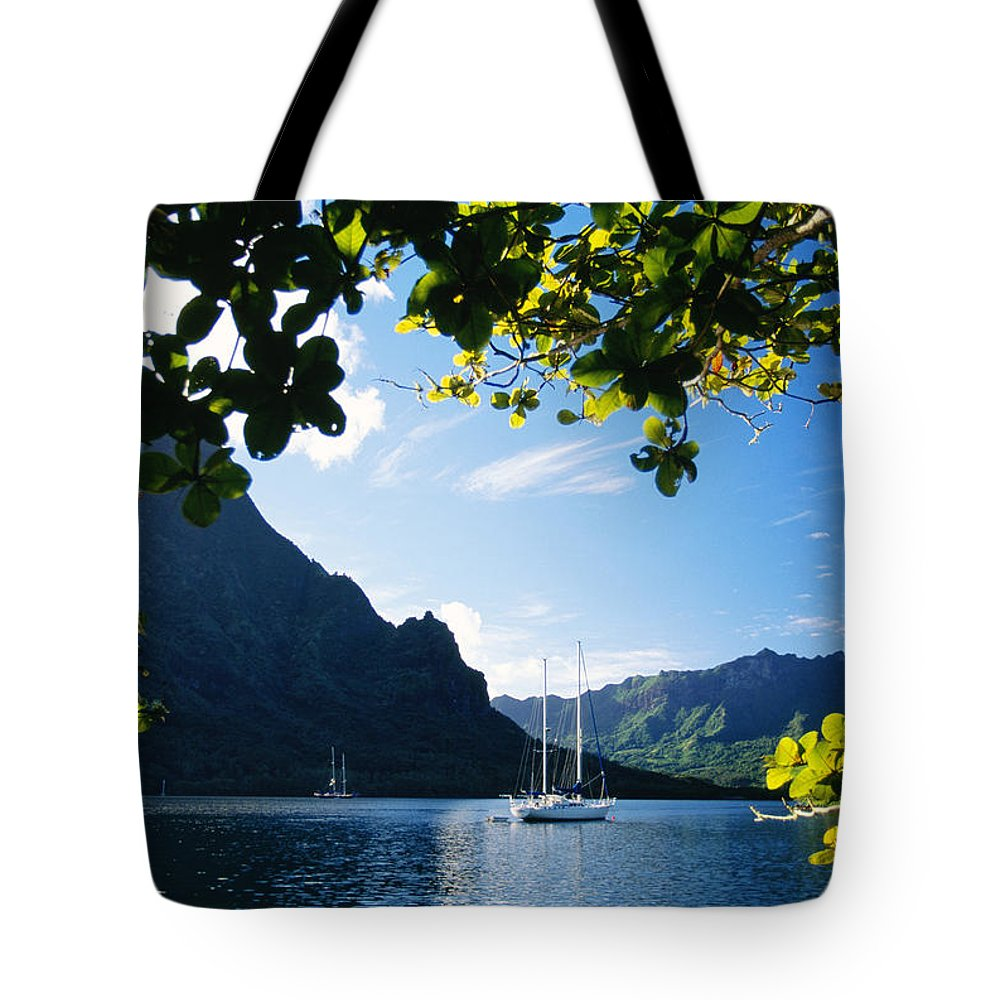 Across Tote Bag featuring the photograph French Polynesia, Moorea by Dana Edmunds - Printscapes