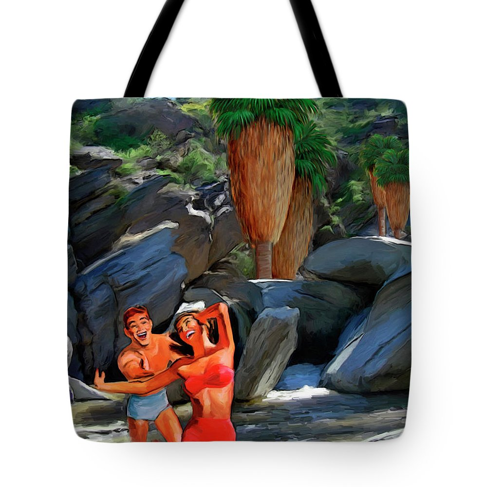 Desert Tote Bag featuring the painting Frolicking In The Canyons by Snake Jagger