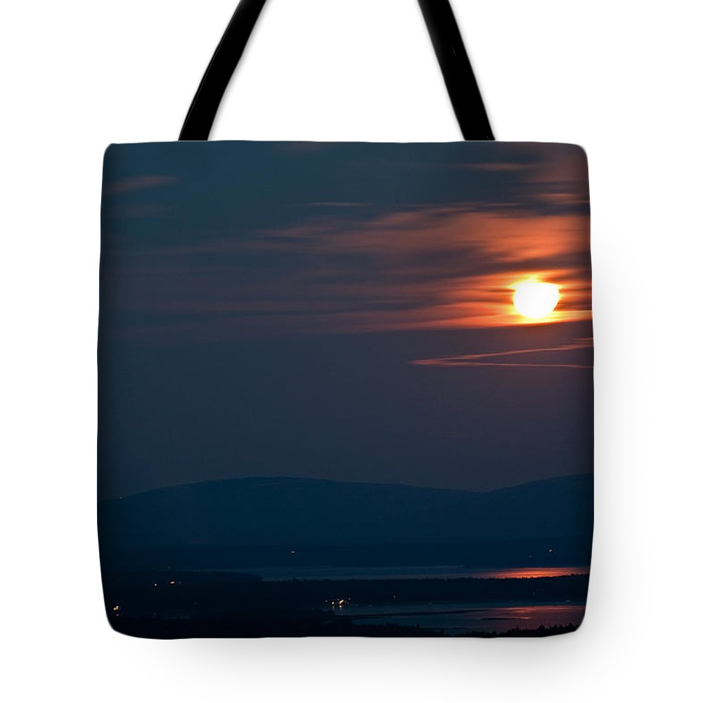 Moon Tote Bag featuring the photograph Full Moon Over Acadia IIi by Greg DeBeck