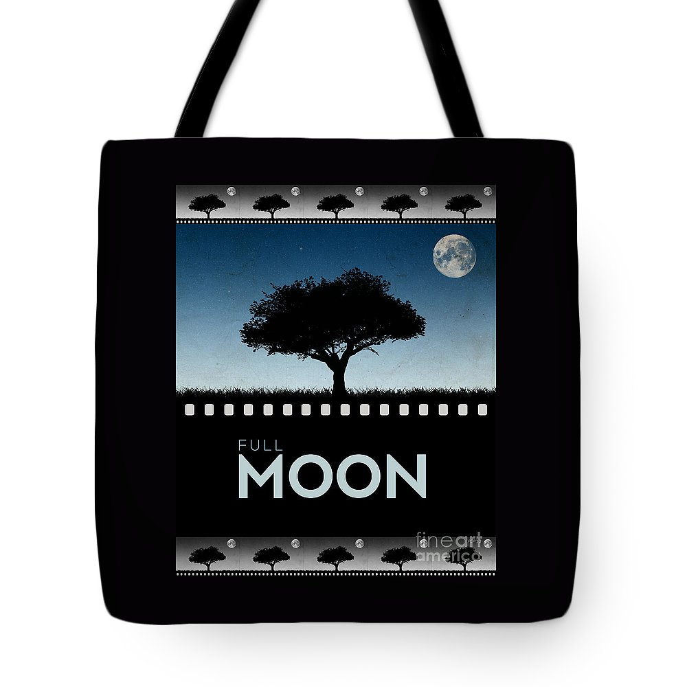 Moon Tote Bag featuring the digital art Full Moon by Phil Perkins