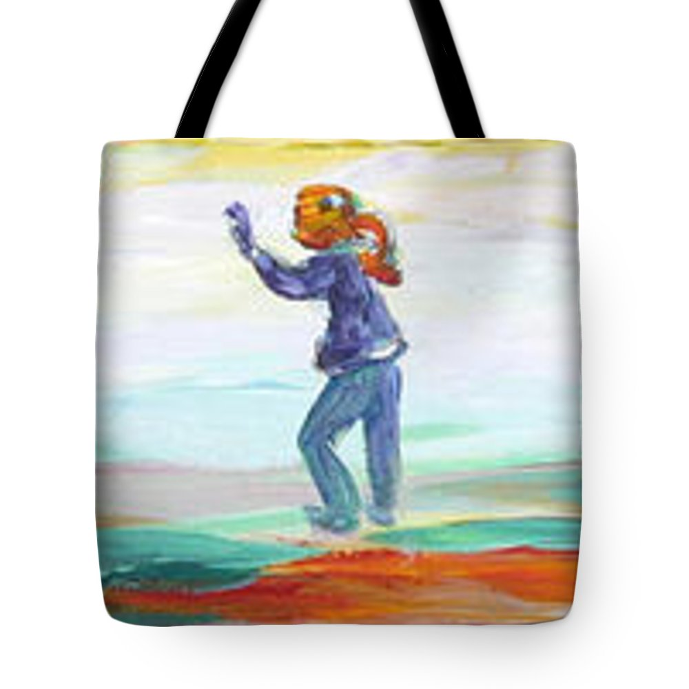 Kids Flying Kites And Playing Soccer In The Park Tote Bag featuring the painting Fun in the Park by Naomi Gerrard