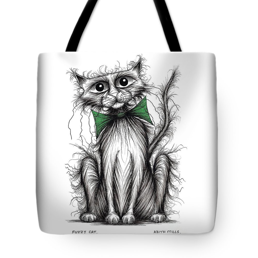 Fuzzy Cat Tote Bag featuring the drawing Fuzzy Cat by Keith Mills