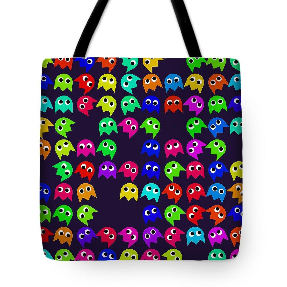 Monsters Tote Bag featuring the digital art Game Monsters Seamless Generated Pattern by Miroslav Nemecek