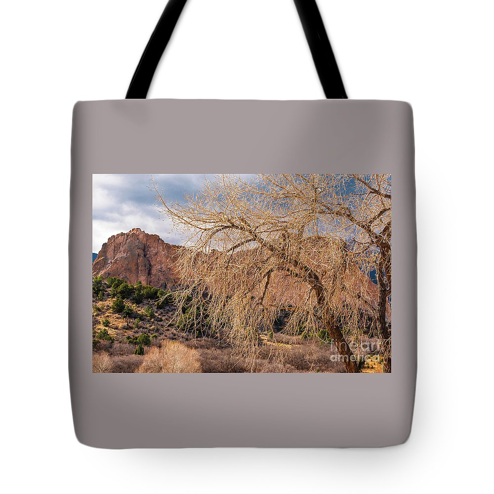 Colorado Springs Tote Bag featuring the photograph Garden Of The Gods Entrance by Jennifer Mitchell