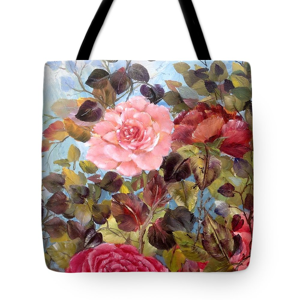 Roses Tote Bag featuring the painting Garden Party/portion by Barbie Carter
