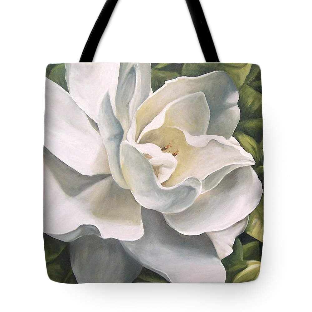 Flower Tote Bag featuring the painting Gardenia by Natalia Tejera