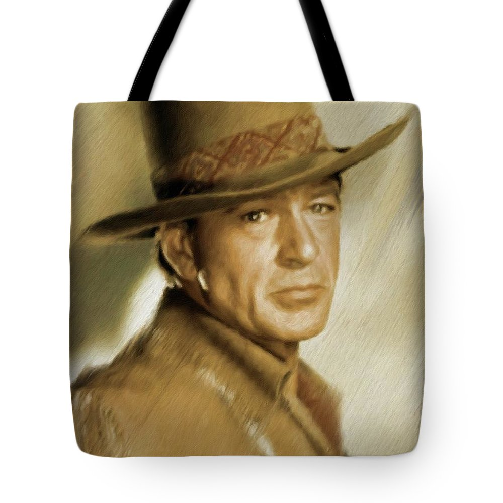 Gary Tote Bag featuring the painting Gary Cooper, Vintage Actor by Mary Bassett