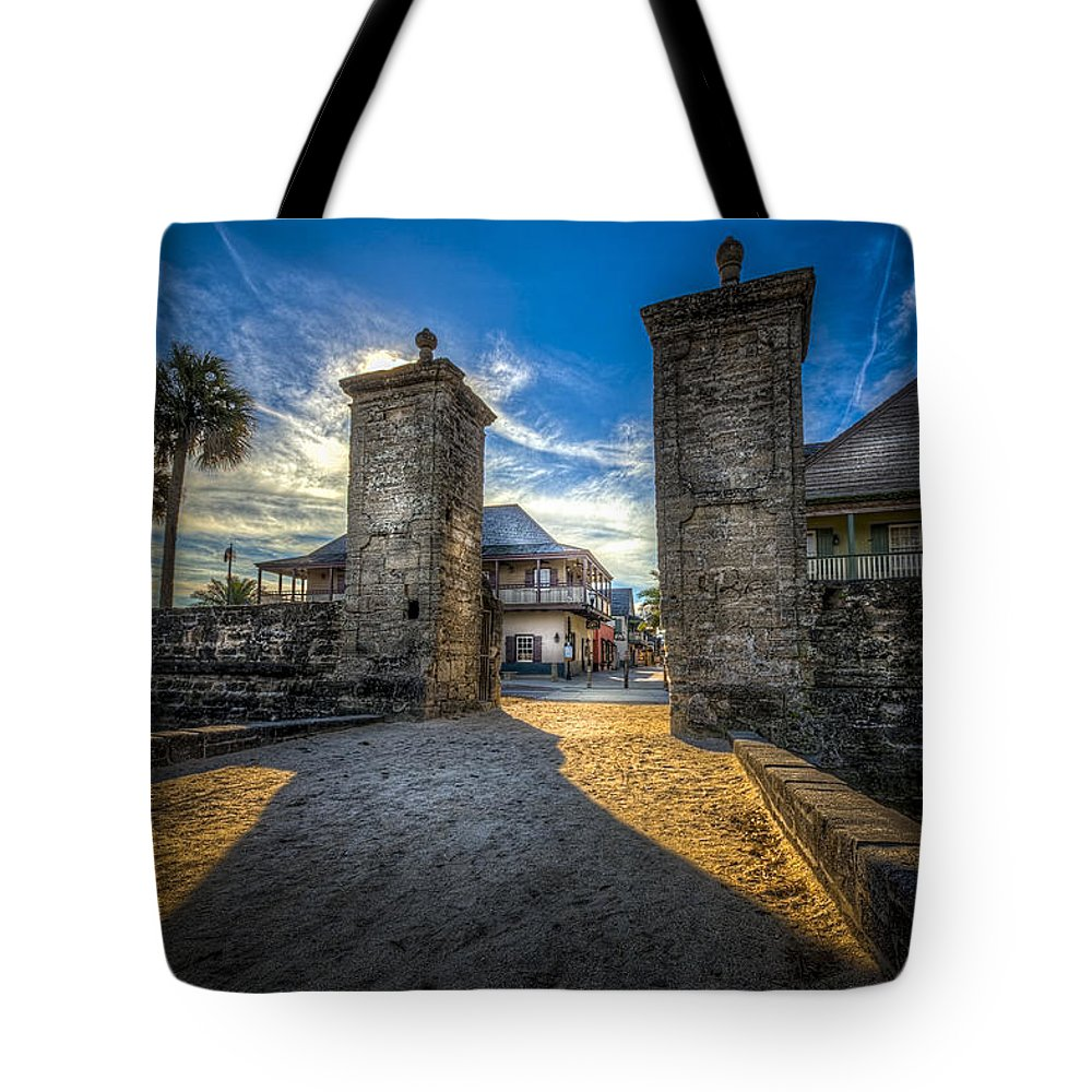 Fort Tote Bag featuring the photograph Gate To The City by Marvin Spates