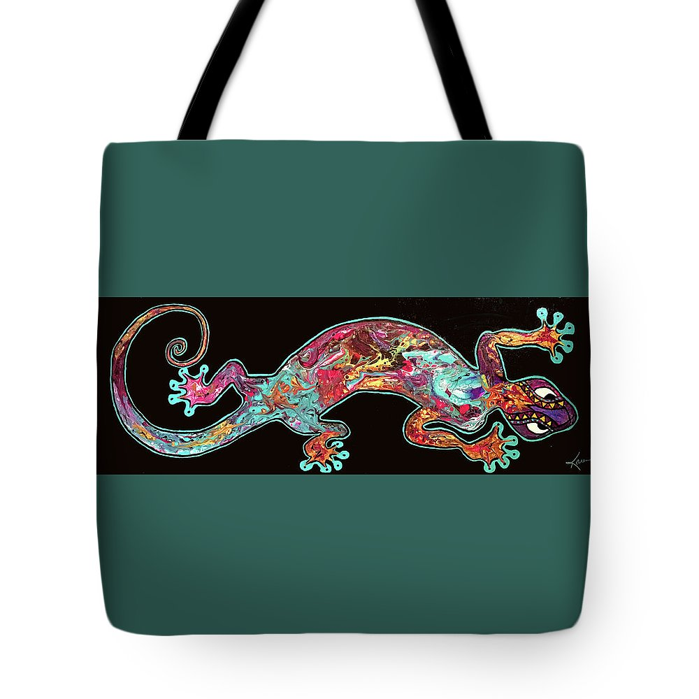 Acrylic Pour Tote Bag featuring the painting Gecko by Karen Chatham