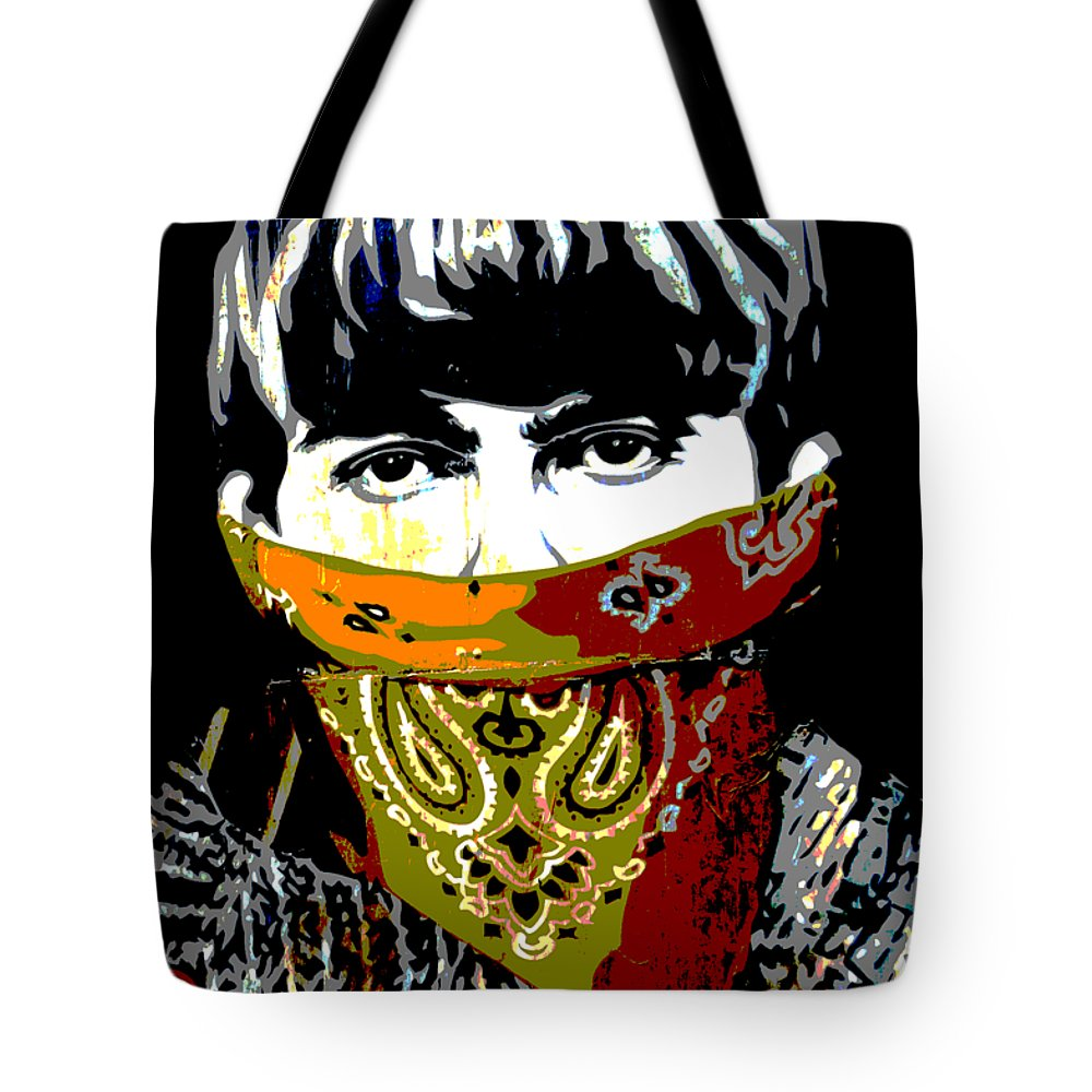 Banksy Tote Bag featuring the photograph George Harrison wearing a face mask by RicardMN Photography