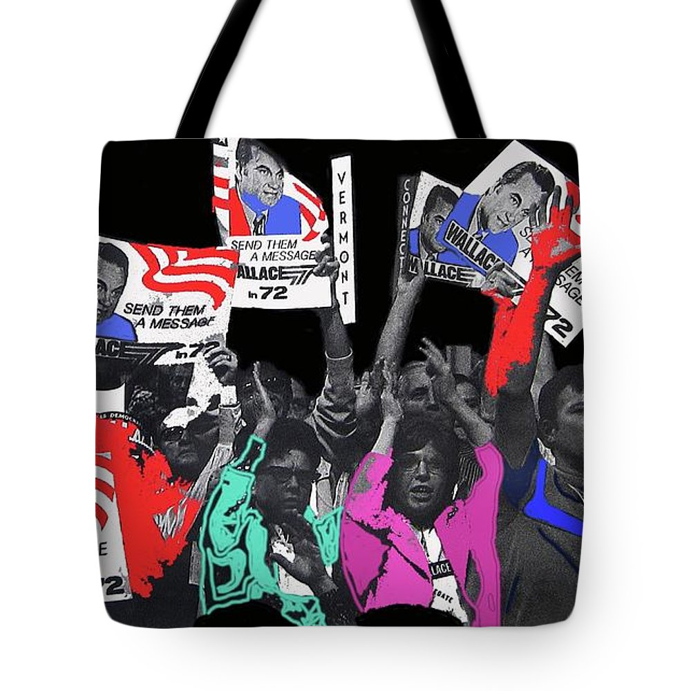 George Wallace For President Supporters Democratic Nat'l Convention Miami Beach Florida 1972 Tote Bag featuring the photograph George Wallace For President Supporters Democratic Nat'l Convention Miami Beach Florida 1972-2013 by David Lee Guss