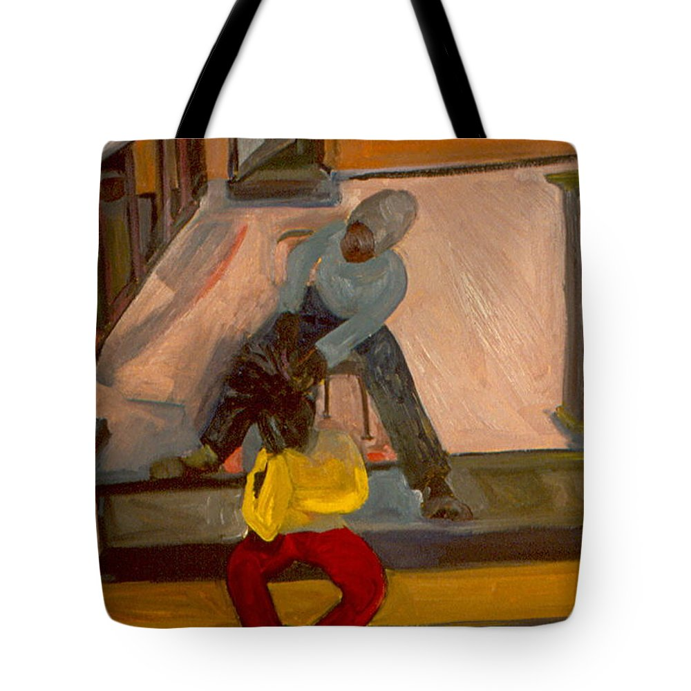 Neighborhood Tote Bag featuring the painting Gettin Braids by Daun Soden-Greene