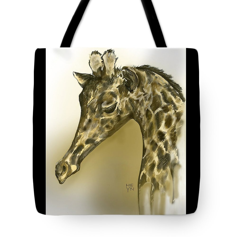 Graphic Tote Bag featuring the mixed media Giraffe Contemplation by Shirley Heyn