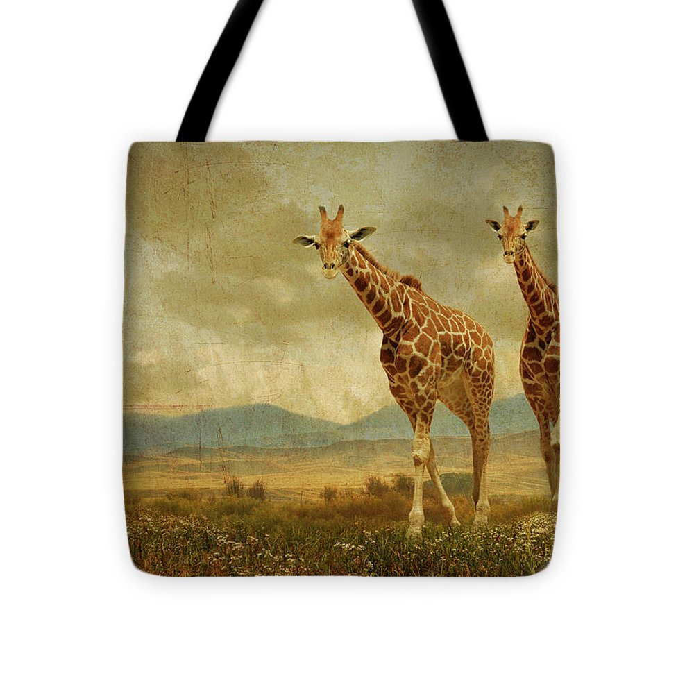 Giraffes Tote Bag featuring the photograph Giraffes In The Meadow by Guy Crittenden