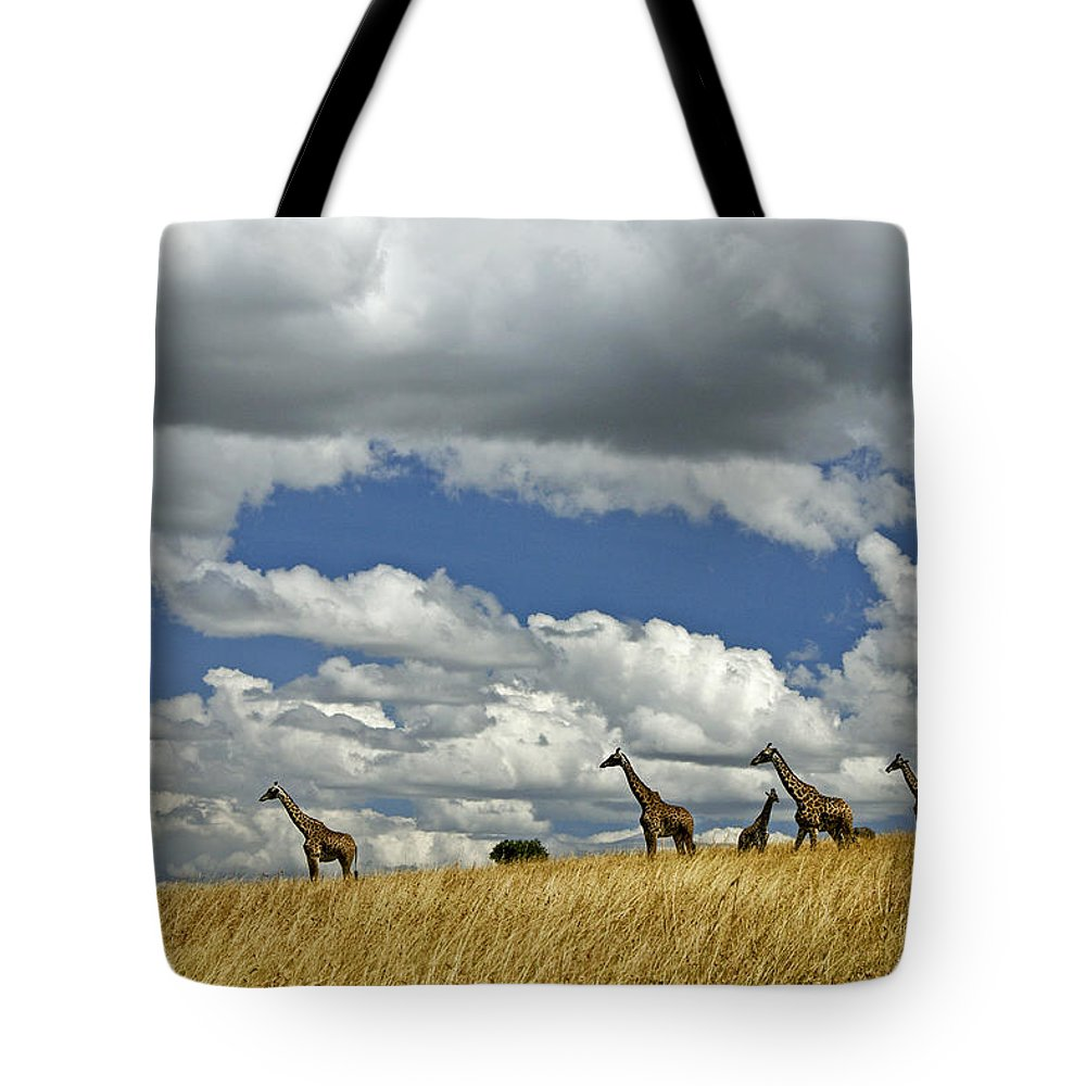 Africa Tote Bag featuring the photograph Giraffes On The Horizon by Michele Burgess