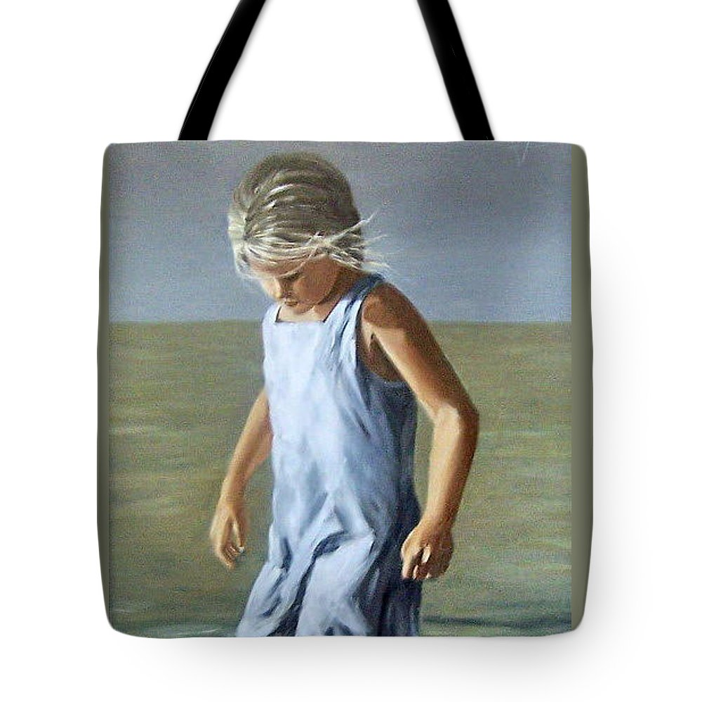 Girl Children Reflection Water Sea Figurative Portrait Tote Bag featuring the painting Girl by Natalia Tejera