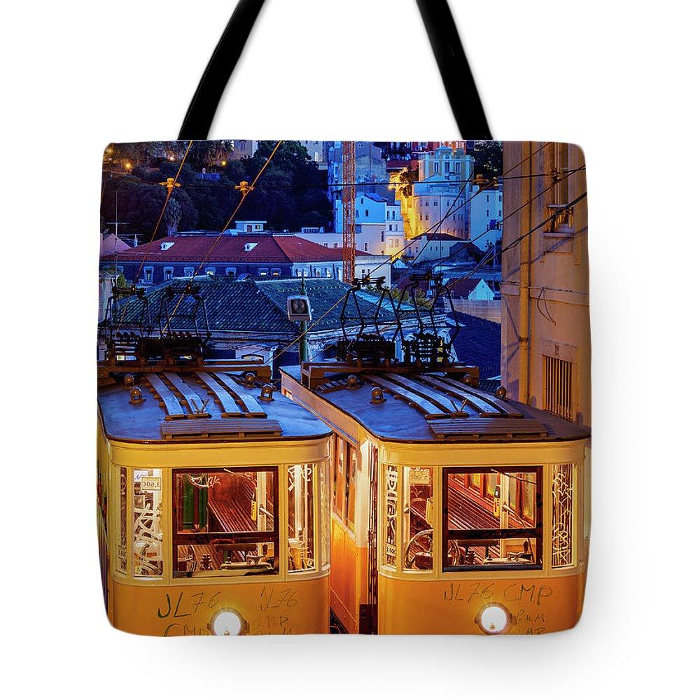Gloria Tote Bag featuring the photograph Gloria Funicular, Lisbon, Portugal by Karol Kozlowski