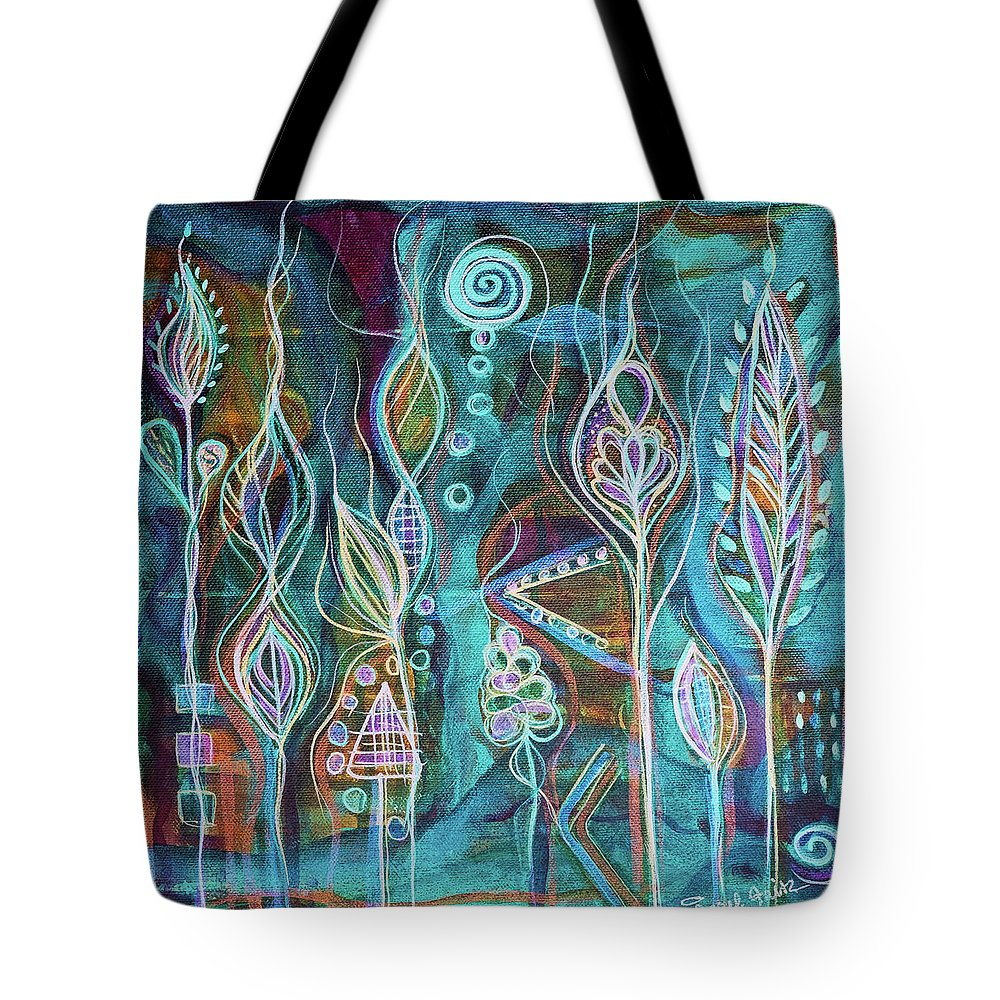 Intuitive Art Tote Bag featuring the painting Glow by Angel Fritz