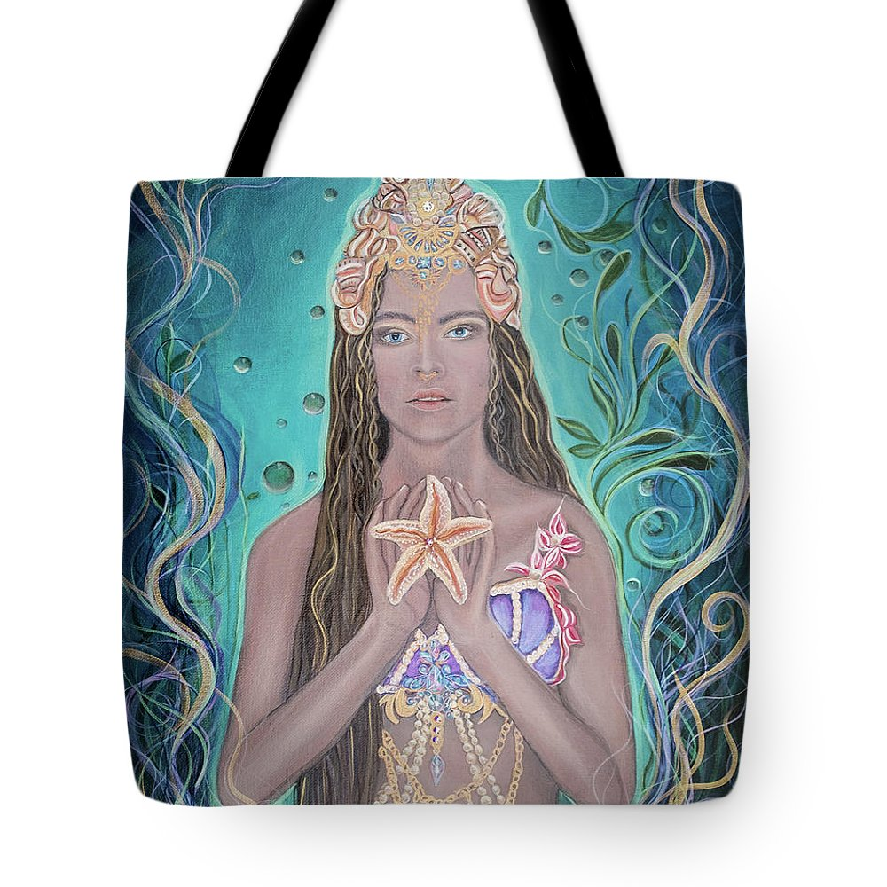 Goddess Tote Bag featuring the painting Goddess Of The Sea by Angel Fritz