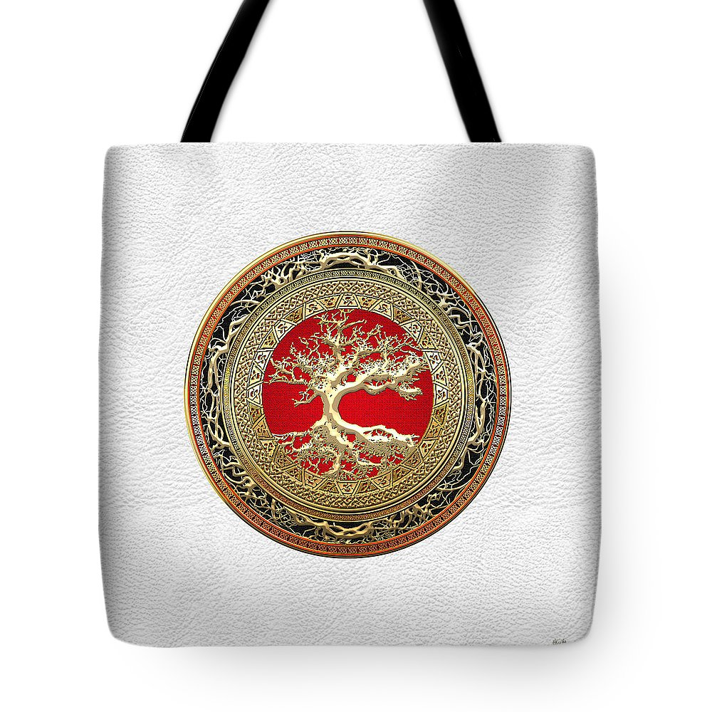 Treasure Trove By By Serge Averbukh Tote Bag featuring the photograph Gold Celtic Tree of Life on White Leather by Serge Averbukh