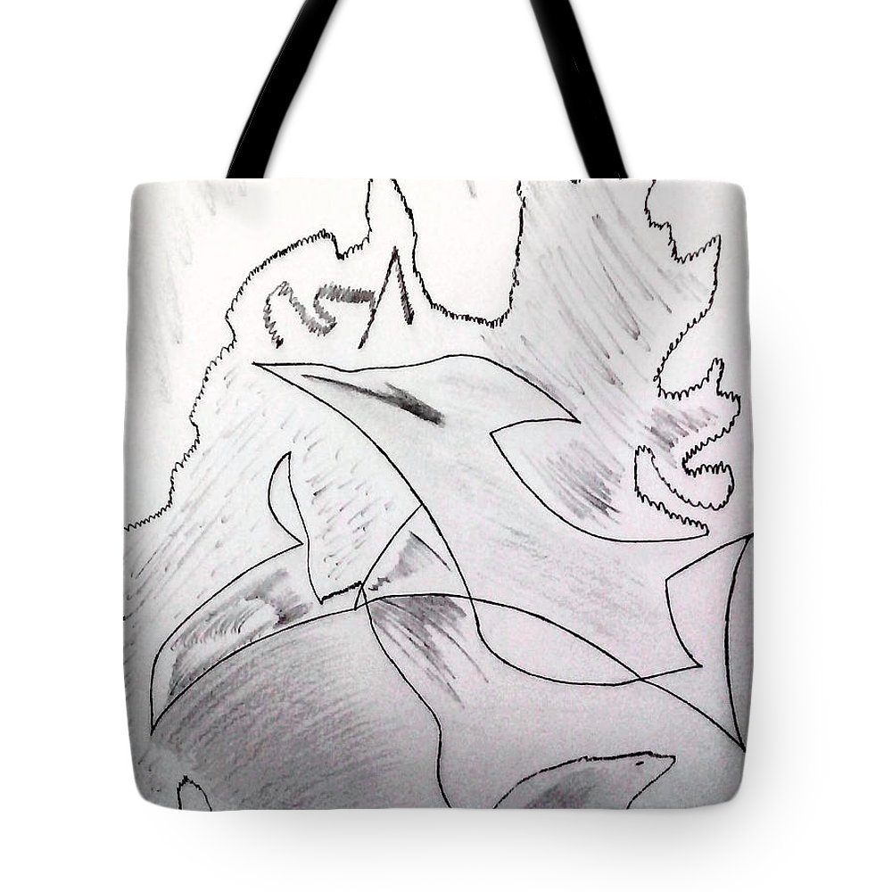 Tote Bag featuring the drawing Goodbye Carbon by Dheeraj Abrol