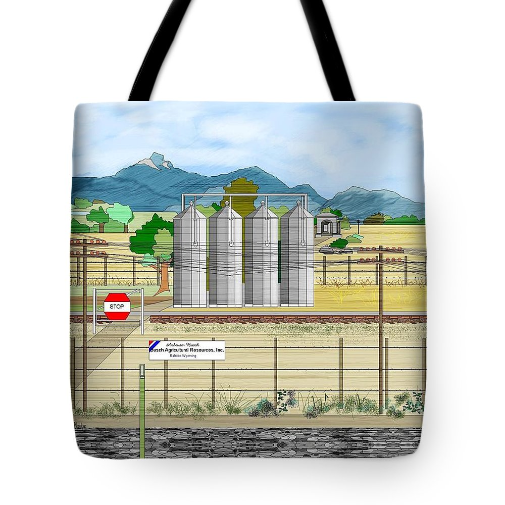 Wyoming Tote Bag featuring the painting Grain Elevators At Ralston by Anne Norskog
