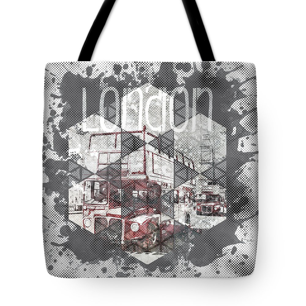 Abstract Tote Bag featuring the photograph Graphic Art London Streetscene by Melanie Viola