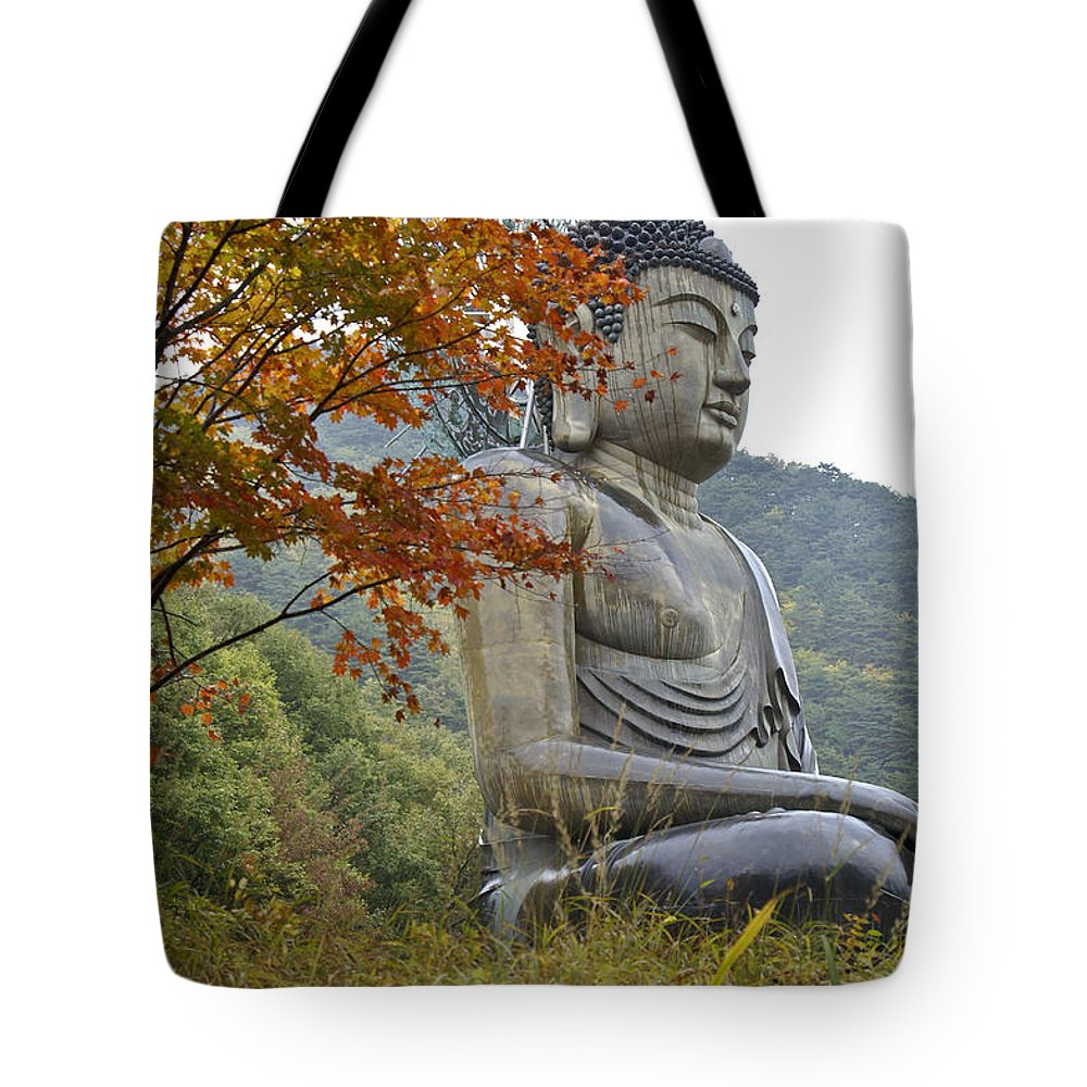 Buddha Tote Bag featuring the photograph Great Buddha In Autumn by Michele Burgess