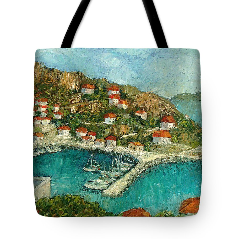 Island Tote Bag featuring the painting Greek Island by Ioulia Sotiriou