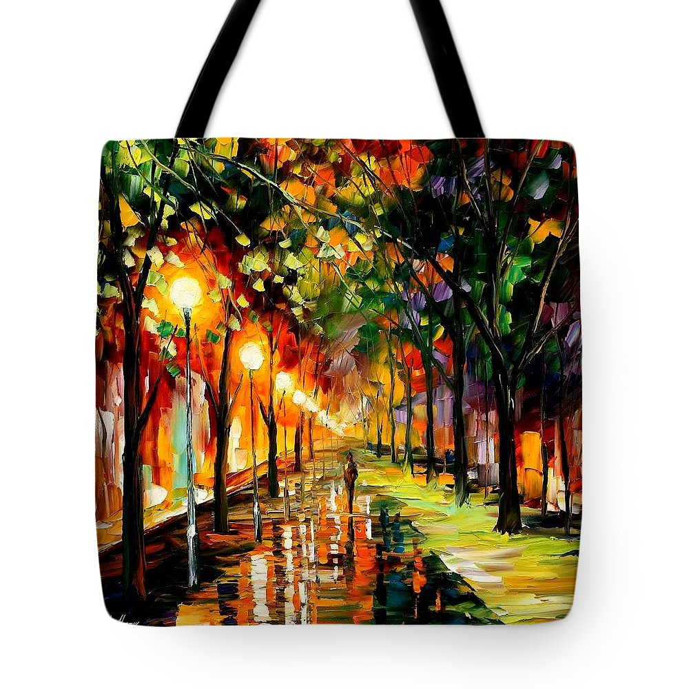 Afremov Tote Bag featuring the painting Green Dreams by Leonid Afremov