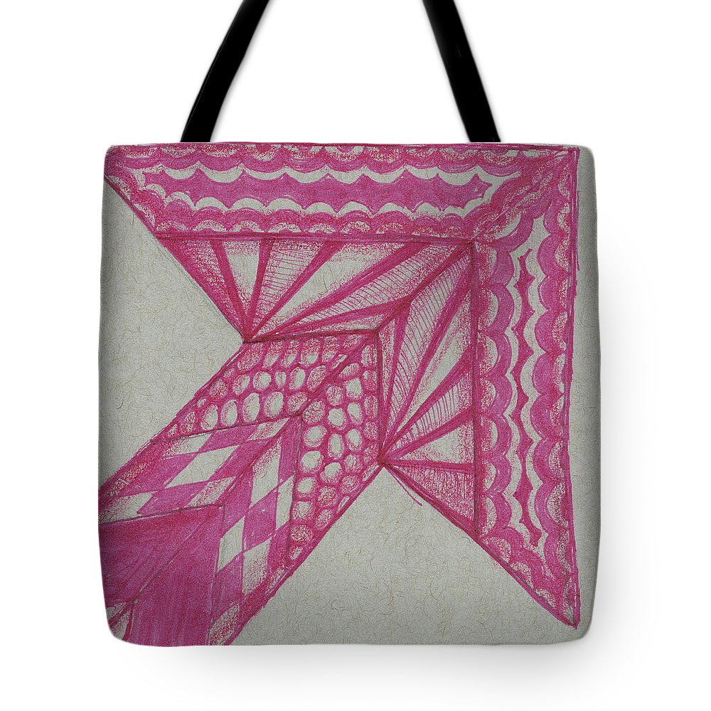 Zentangle Tote Bag featuring the mixed media Grey Zen 1 by Kitty Perkins