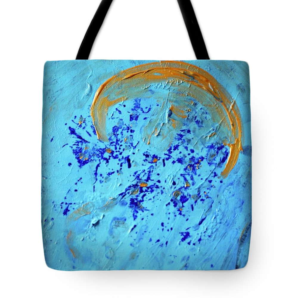 Blue Tote Bag featuring the painting Halo by Margaret Fronimos