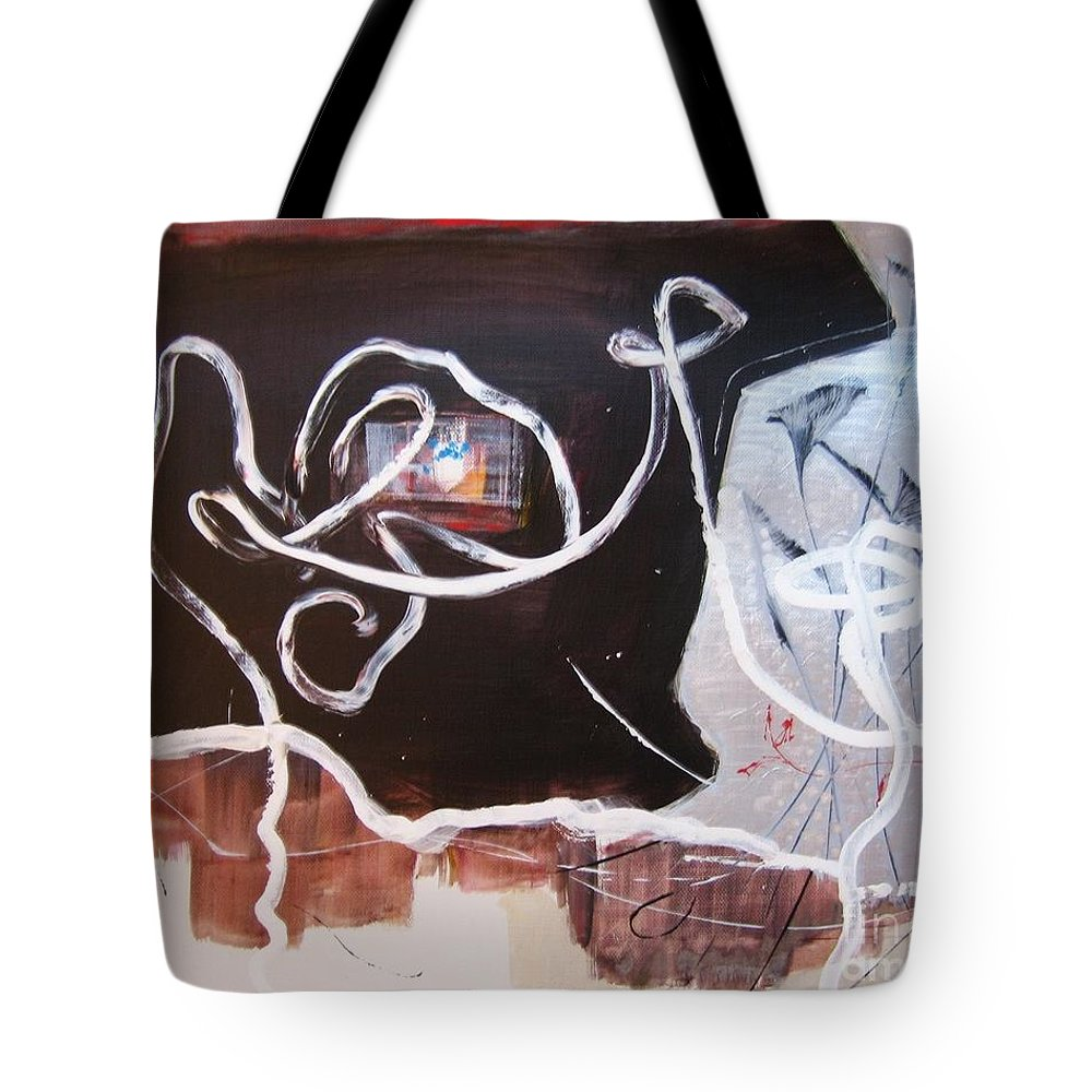 Abstract Paintings Tote Bag featuring the painting Hand In Hand by Seon-Jeong Kim